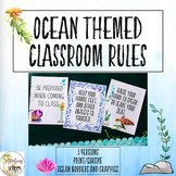 Ocean Themed Classroom Rule Posters