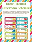 Ocean Themed Classroom Schedule