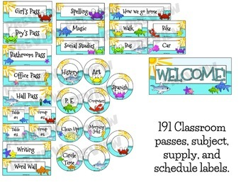 Ocean Themed Classroom Signs, Hall Passes and Supply Labels