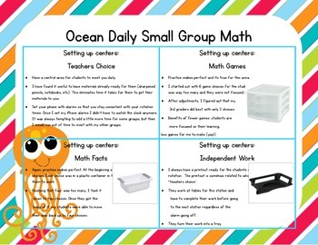 Ocean Themed Classroom Small Group Math Center/ Workshop Setup