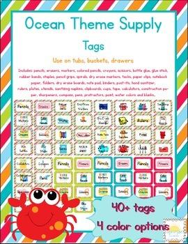 Ocean Themed Classroom Supply Tags