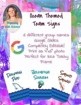 Ocean Themed Classroom Team Signs