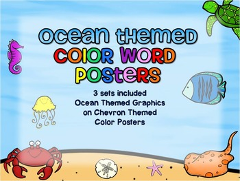 Ocean Themed Color Word Posters - Chevron Background