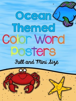 Ocean Themed Color Word Posters Full and Mini Size