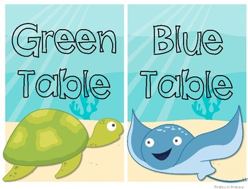Ocean Themed Colored Table Signs