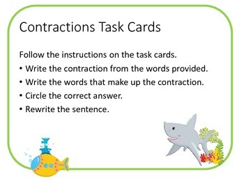 Ocean Themed Contraction Task Cards