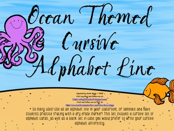 Ocean Themed Cursive Alphabet Line/Cards