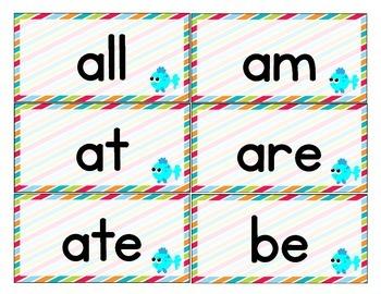 Ocean Themed Decor Dolch Word Cards (Pre-Primer-3rd Grade)