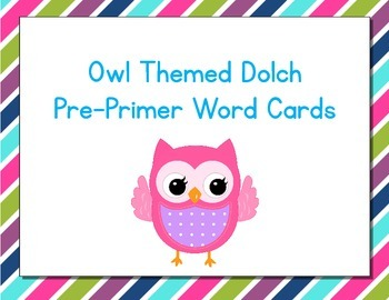 Owl Themed Decor Dolch Word Cards (Pre-Primer-3rd Grade)