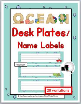 Ocean Themed Desk Plates - 10 Variations
