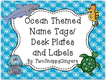 Ocean Themed Desk Plates/Name Tags/Labels - EDITABLE