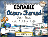 Ocean Themed Desk Tags and Cubby Tags --- EDITABLE Ocean Desk Tags