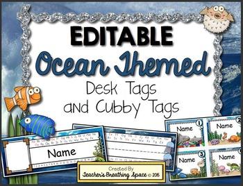 Ocean Themed Desk Tags and Cubby Tags --- EDITABLE Ocean Desk Tags