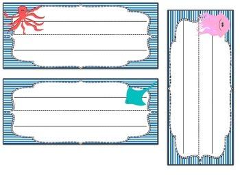 Desk or Cubby Tags: Ocean Themed