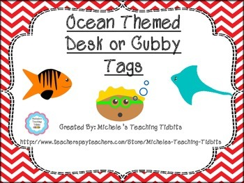 Ocean Themed Desk or Cubby Tags