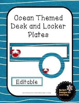 Ocean Themed Editable Desk and Locker Plates