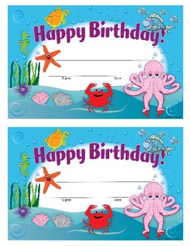 Ocean-Themed Fillable Happy Birthday Card