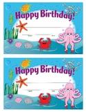Ocean-Themed Fillable Happy Birthday Card
