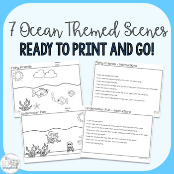Ocean Themed Following Directions Coloring Pack- No Prep