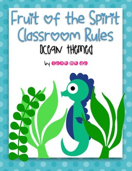 Ocean Themed Fruit of the Spirit Classroom Rules Posters *FREEBIE!*