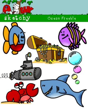 Ocean Themed Graphics / Clipart Freebie - 300dpi Color BW
