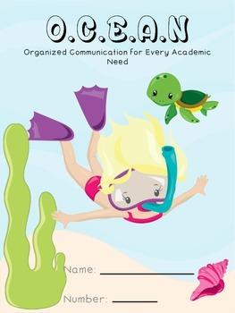 Ocean Themed Homework Cover