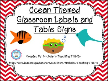 Ocean Themed Labels and Table Signs