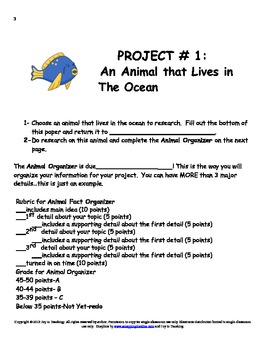Ocean Theme Language Arts Project for Classwork/Homework