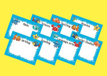 Ocean Themed Learning Targets or Subject Assignment Boards