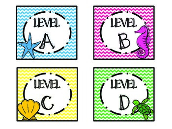 Ocean Themed Leveled Reader Labels (Chevron Collection)