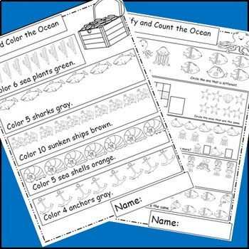 Ocean Math, Ocean Animals, Math Worksheets, Ocean Theme, or Ocean Unit