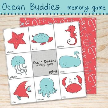 Ocean Themed Memory Game, Ocean Buddies