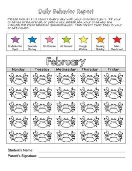 Ocean Themed Monthly Behavior Reports