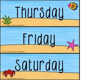 Ocean Themed Calendar Supplement Pack!
