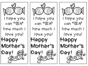 Ocean Themed Mother's Day Bookmark FREEBIE!