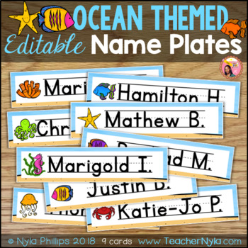 Ocean Themed Name Plates - Editable