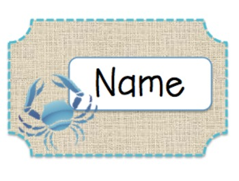 Ocean Themed Name Tags
