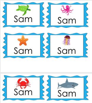 Ocean Themed Name Tags - EDITABLE