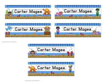 Ocean Themed Editable Name plates / Desk Plates / Name Tags
