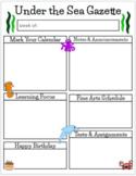 Ocean Themed Newsletter and Homework Templates