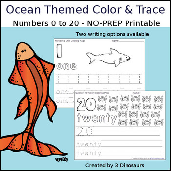 Ocean Themed Number Color and Trace