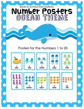 Ocean Themed Number Posters (Numbers 1 to 20)