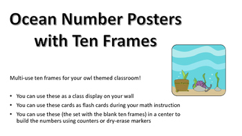 Ocean Themed Number Posters with Ten Frames