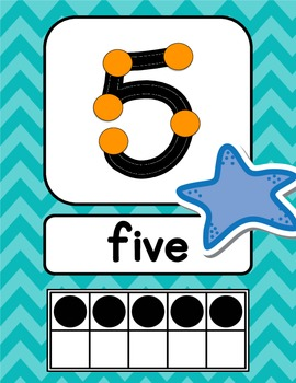 Ocean Themed Number Signs {with counting points}