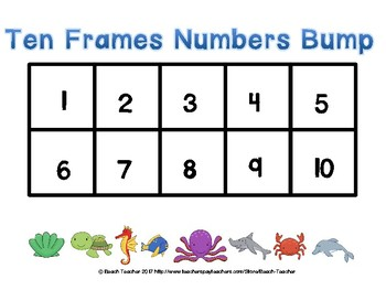 Ocean Themed Numbers Ten Frames Bump Game