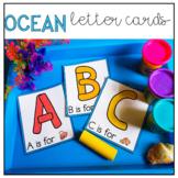 Ocean Themed Play-Doh Letter Cards for Preschool, Pre-K, and Kindergarten