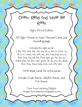 Ocean Themed Read and Write the Room - Sight Words