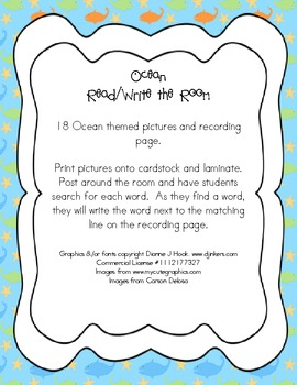 Ocean Themed Read and Write the Room