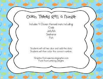 Ocean Themed Roll a Number