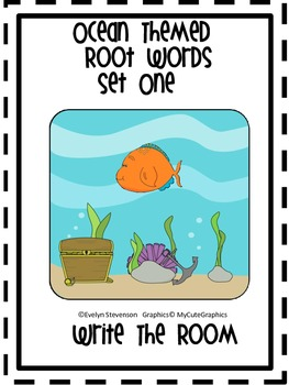 Ocean Themed Root Words Write the Room